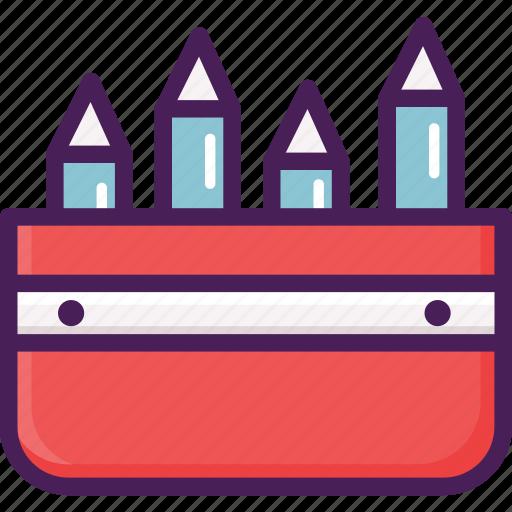 box, case, cotton, pencil, plastic, school, stationery icon