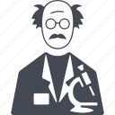 education, man, microscope, scientist, study icon