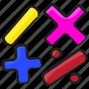 division, mathematics, maths, minus, multiplication, plus icon