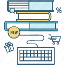 book, e-book, education, internet, order, shopping, store icon