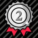 second, argent, award, medal