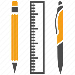 education, pen, pencil, rule, school, study, tools, writting materials icon