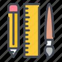 pen, pencil, ruler, brush, paint, art, education