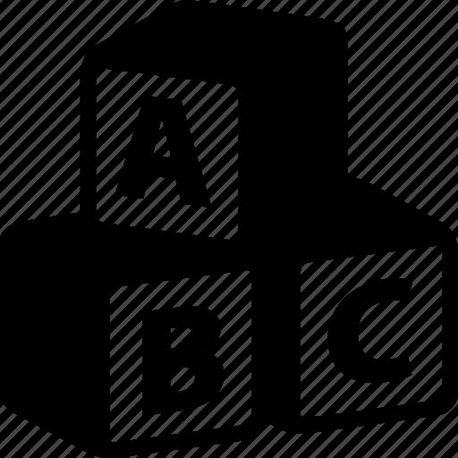 abc, alphabeth, blocks, cubes, education, letters icon