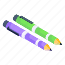 pens, stationery, ballpoints, writing tools, educational tool icon