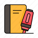 education, book, highlighter, marker, undeline, school, stationary