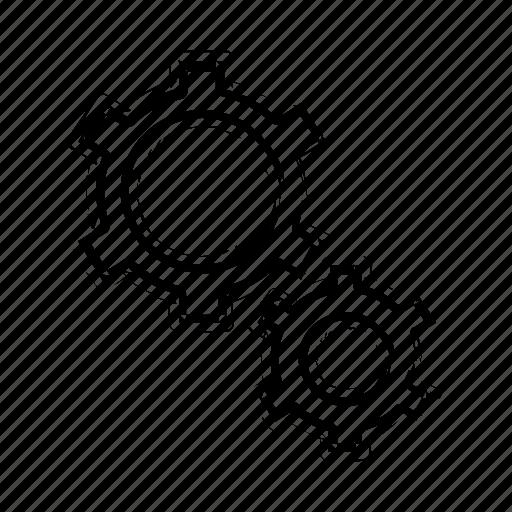 cogwheels, configuration, gears, interface, settings, three, wheels icon