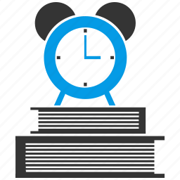 alarm, book, books, clock, education, study, time icon