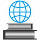 books, earth, education, globe, grid, planet, study icon