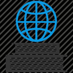 books, earth, education, globe, grid, planet, study icon