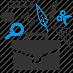 briefcase, education, materials, school icon