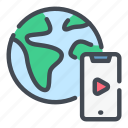 earth, globe, lesson, play, smartphone, task, video icon