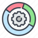analytics, gear, options, result, settings, statistics, stats icon