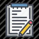 checklist, clipboard, document, file, pencil, plan, report icon