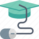 e-learning, education, graduation, hat, internet, mouse, online icon