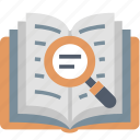 book, education, find, knowledgr, magnifier, search, study icon