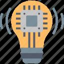 idea, smart, bulb, chip, creative, education, solution
