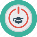 distance, education, learning, online, start button, student cap icon
