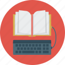 book, ebook, education, keyboard icon