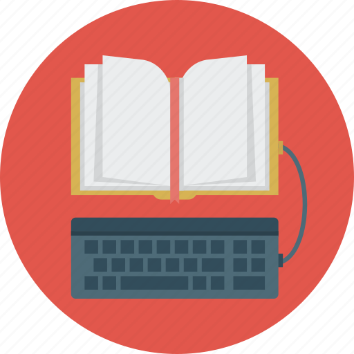 book, ebook, education, keyboard icon