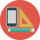 design, geometric, pencil, phone, tools icon