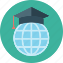 earth, education, global, learning, student cap, world icon