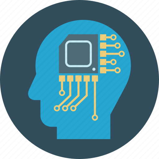 analytical mind, brain, head, idea, microchip icon