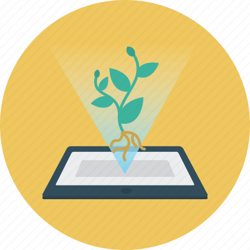 biology, education, plant, tablet icon