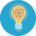 idea, lamp, light, molecular, physics icon