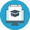 education, learning, online, student cap, website icon