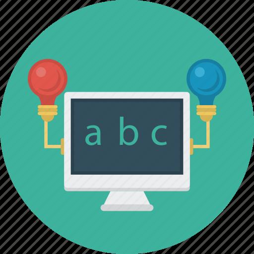 lightbulb, monitpr, online, study, test icon