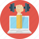 coaching, dumbbell, hand, laptop, online, training icon