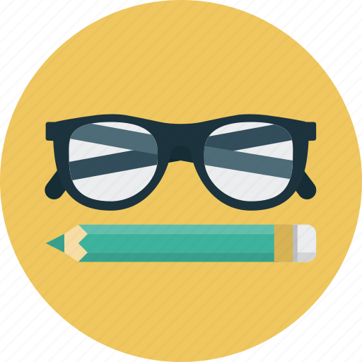 glasses, learning, pencil, study icon