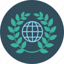 education, globe, laurel, science, wreath icon