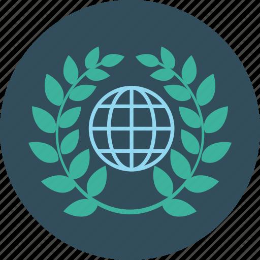 education, globe, laurel, science, wreath icon