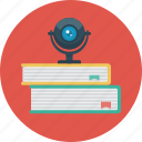 books, e-learning, study, video, web camera icon