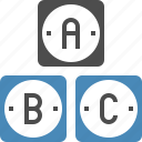 abc, alphabet, basic, grade, knoledge, read, school icon