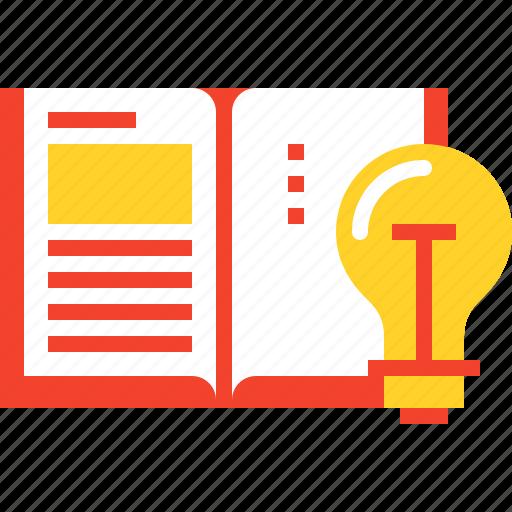 book, bulb, education, idea, knowledge, learn, light icon