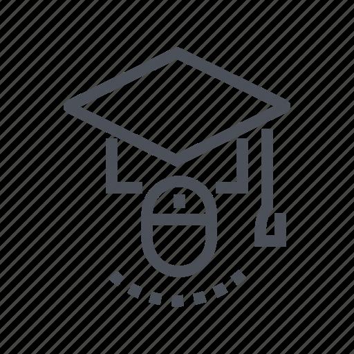education, graduation, internet, learning, online icon