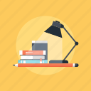 book, bulb, desk, education, home, knowledge, lamp, learn, learning, light, office, pencil, read, school, studio, study, teaching, work, workplace icon