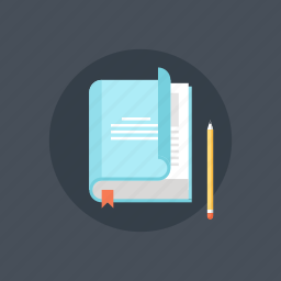 book, bookmark, education, experience, information, knowledge, learn, library, literature, pencil, publication, read, school, study, teaching, training icon
