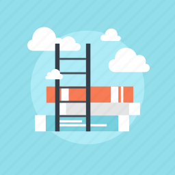 book, cloud, discover, education, explore, information, knowledge, learn, library, path, read, road, school, sky, stair, stairs, stairway, step, study, to, way icon