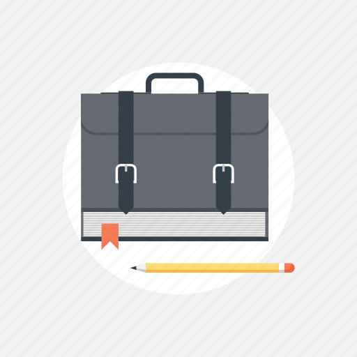 backpack, bag, book, bookmark, briefcase, education, handbag, information, knowledge, learn, pack, pencil, portfolio, read, reading, rucksack, school, schoolbag, student, study, teaching, training icon