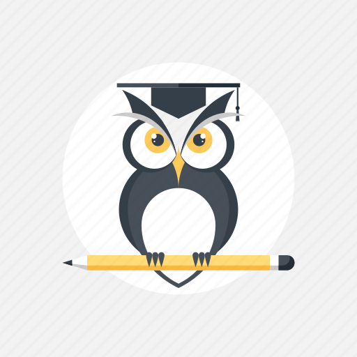 bird, education, experience, expertise, graduation, intelligence, knowledge, learn, learning, owl, pencil, school, smart, study, university, wisdom, wise icon