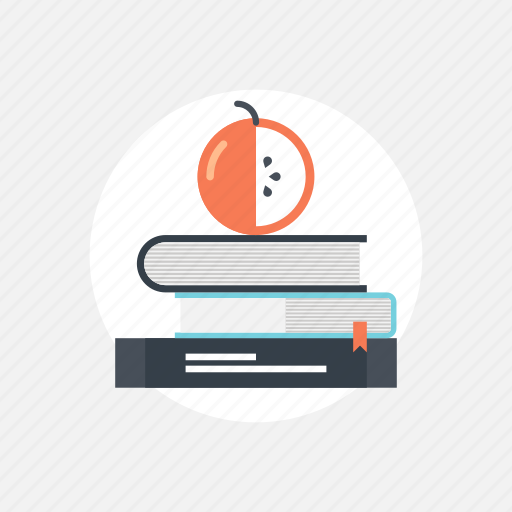 apple, back, book, education, experience, expertise, food, information, knowledge, learn, learning, literature, read, school, study, teaching, to, training icon