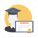certification, degree, education, graduation, gratuate icon