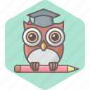 education, learning, owl, school, smartclass, teacher, university icon