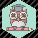 owl, school, smartclass, teacher, university, education, learning icon