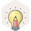 bulb, creative, electric, idea, light, pencil icon