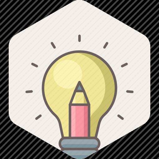 bulb, creative, electric, idea, light, pencil icon